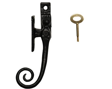 Kirkpatrick Black Antique Malleable Iron Locking 'Monkey Tail' Casement Fastener - AB1165